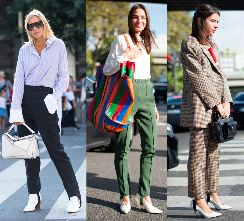 Stirrup pants worn by fashion girls on the street