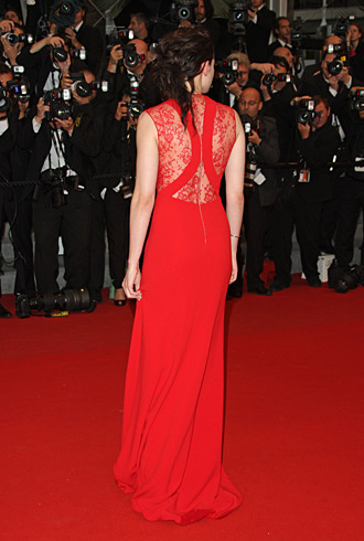 Kristen Stewart Reem Acra dress in Cannes from the back